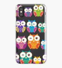 bright colorful owls on black background iPhone Case/Skin