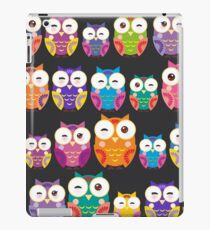 bright colorful owls on black background iPad Case/Skin