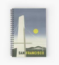 Golden Gate Bridge, San Francisco - Vintage Travel Poster Spiral Notebook