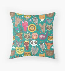 funny animals muzzle Throw Pillow