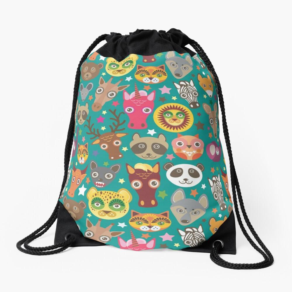 funny animals muzzle Drawstring Bag