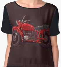 red vintage motorcycle Chiffon Top