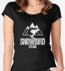 Snowbird Utah Skiing Retro Distressed Women's Fitted Scoop T-Shirt