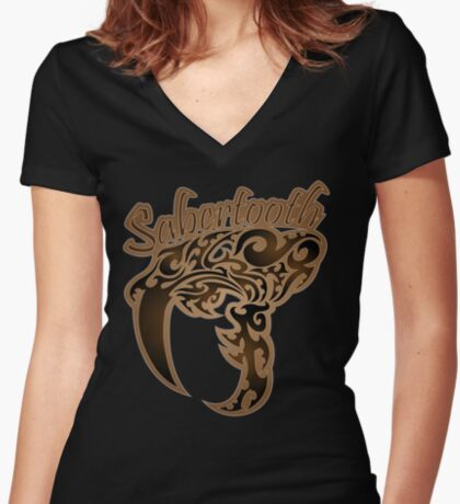 Saber-Tooth Women's Fitted V-Neck T-Shirt