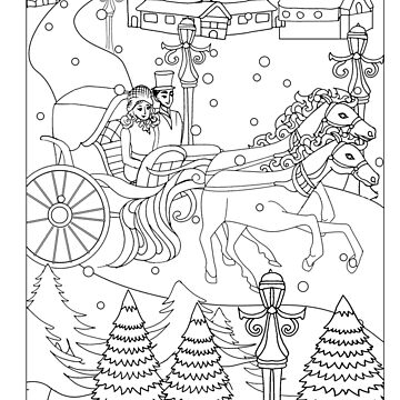 Winter wonderland t-shirt horse carriage couple riding through the snow. perfect colorable design for christmas by SimiRaghavan
