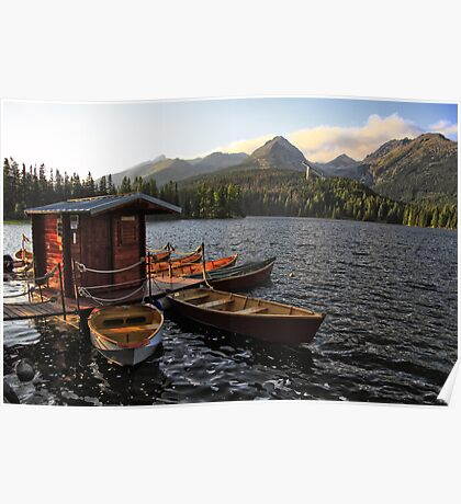 Boathouse at Strbske Pleso Poster