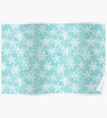 winter background with white snowflakes Poster