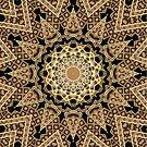 Golden Sun Mandala Geometric Flower by webgrrl