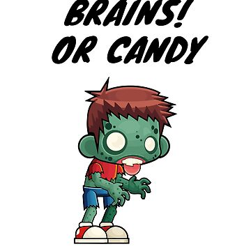 Brains or Candy Funny Halloween T-shirt with Zombie Boy by MKdesignlab