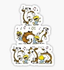 happy dancing calvin and hobbes happy ending Sticker