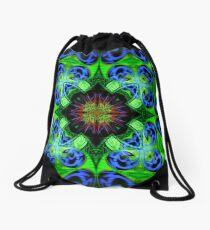Blue Green Star Mandala Drawstring Bag