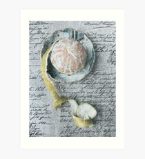 Tangerine In Distress Vintage Style Food Photography Art Print