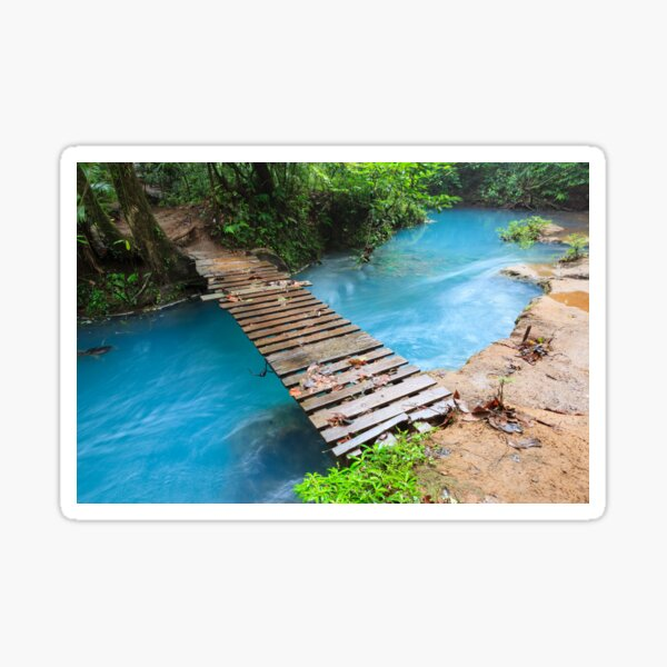 Rio celeste and small wooden bridge Sticker