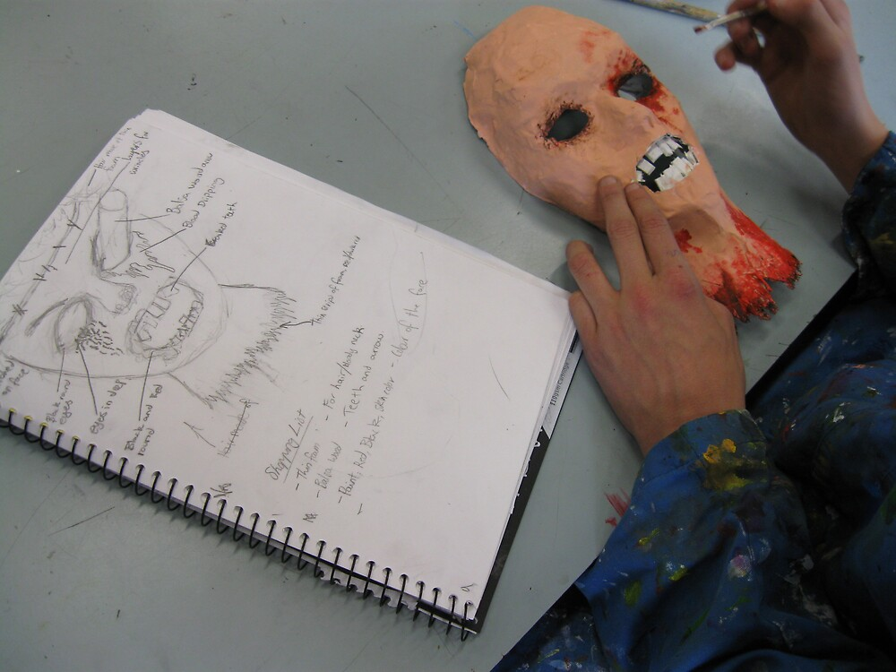 Nathan Birrell: Yr 9 Waterford Grotesque Mask Construction by stkevinsart