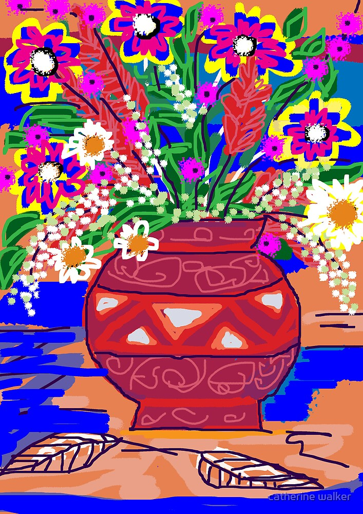 July Flower Pot by catherine walker