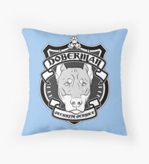 DOBERMAN Security Service - Blue Throw Pillow