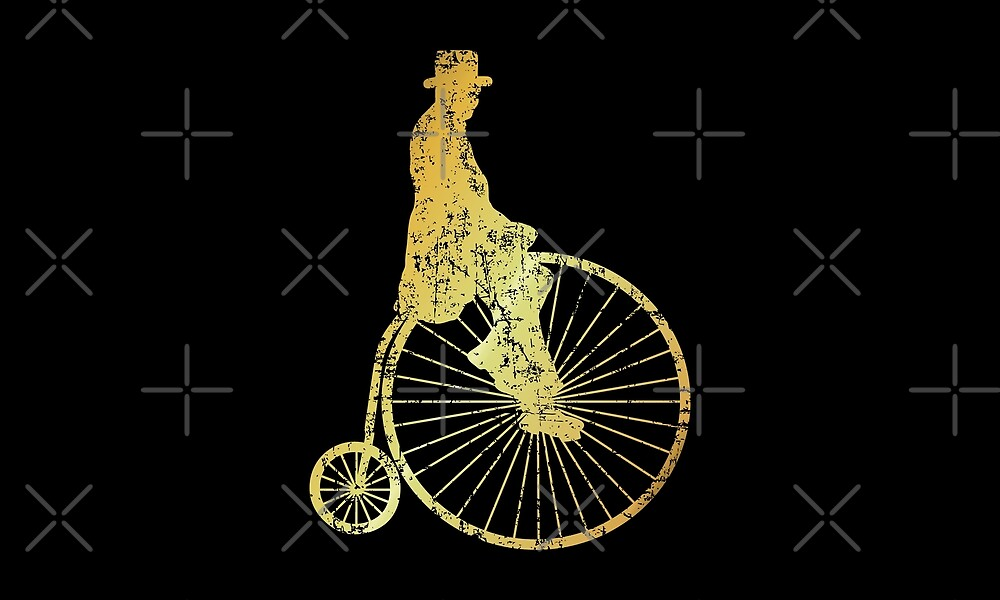 High-Wheel Bicycle Fahrrad (Ancient Gold) by theshirtshops