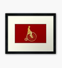 Penny-Farthing- High-Wheel - Fahrrad (Ancient Gold) Framed Print