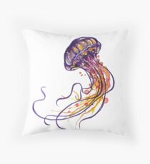 Jellyfish watercolor Throw Pillow