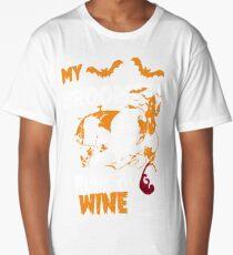 My Broomstick Runs On Wine - Funny Halloween Wine Long T-Shirt
