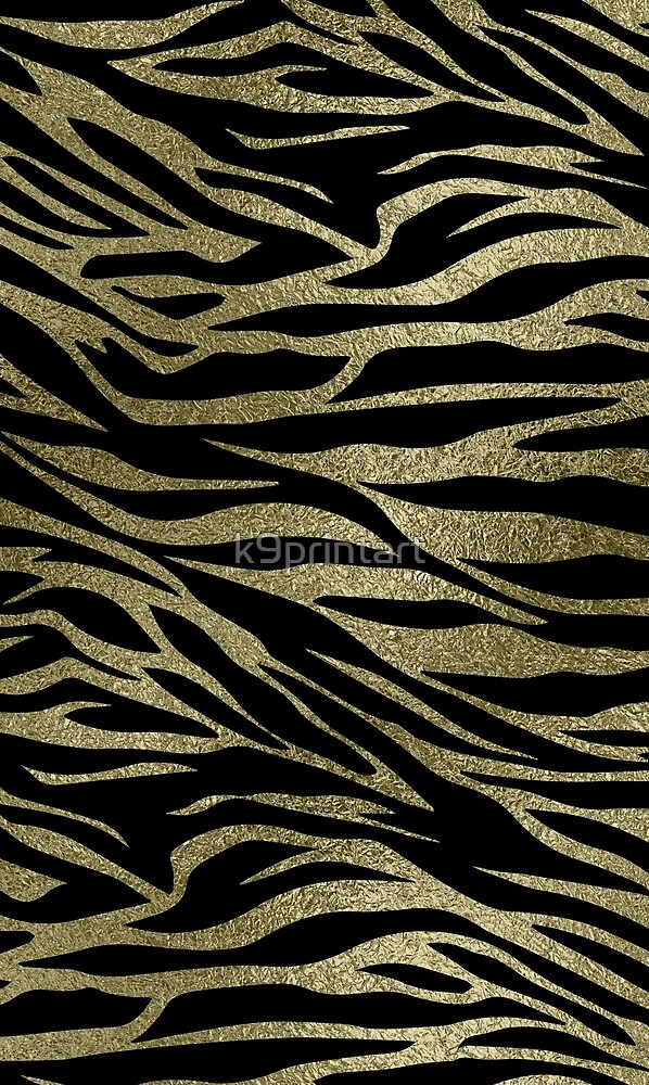 Pastel Gold  Glitter Tiger print on black by k9printart