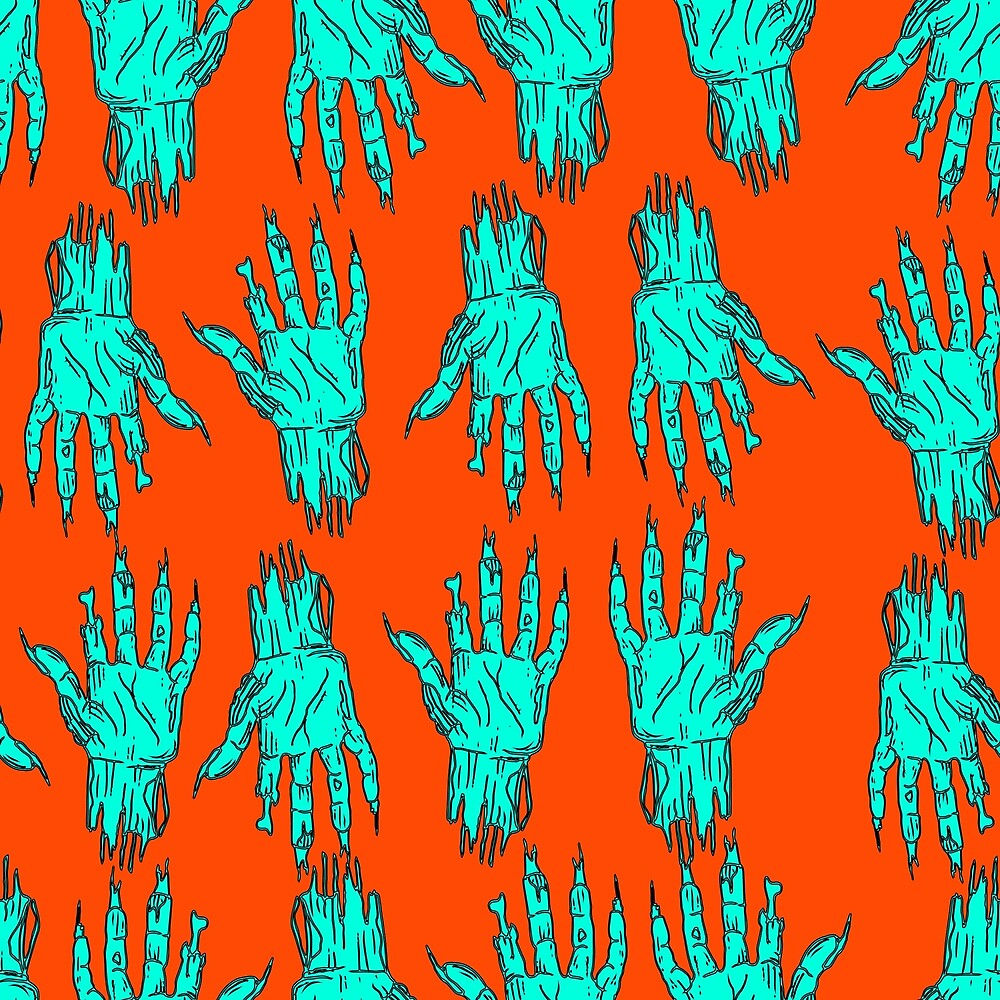Halloween palm zombie dead man seamless funny pattern by Kioto