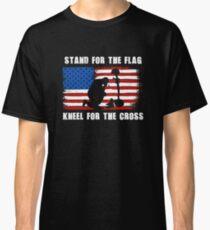 I Stand Shirt | I Stand Tshirt | I Stand T-Shirt | I Stand T Shirt | I Stand For The National Anthem | I Stand For The Flag Kneel For The Cross Classic T-Shirt