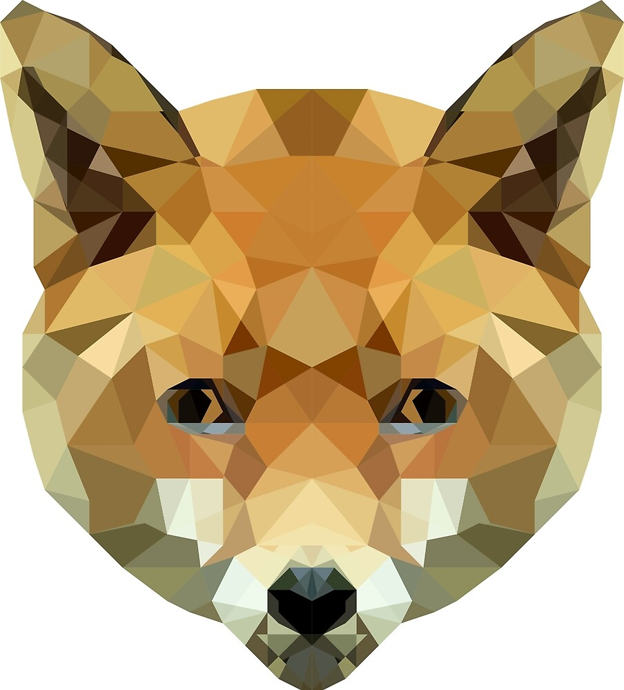 Fox Low Poly art, digital art by krisztinaart