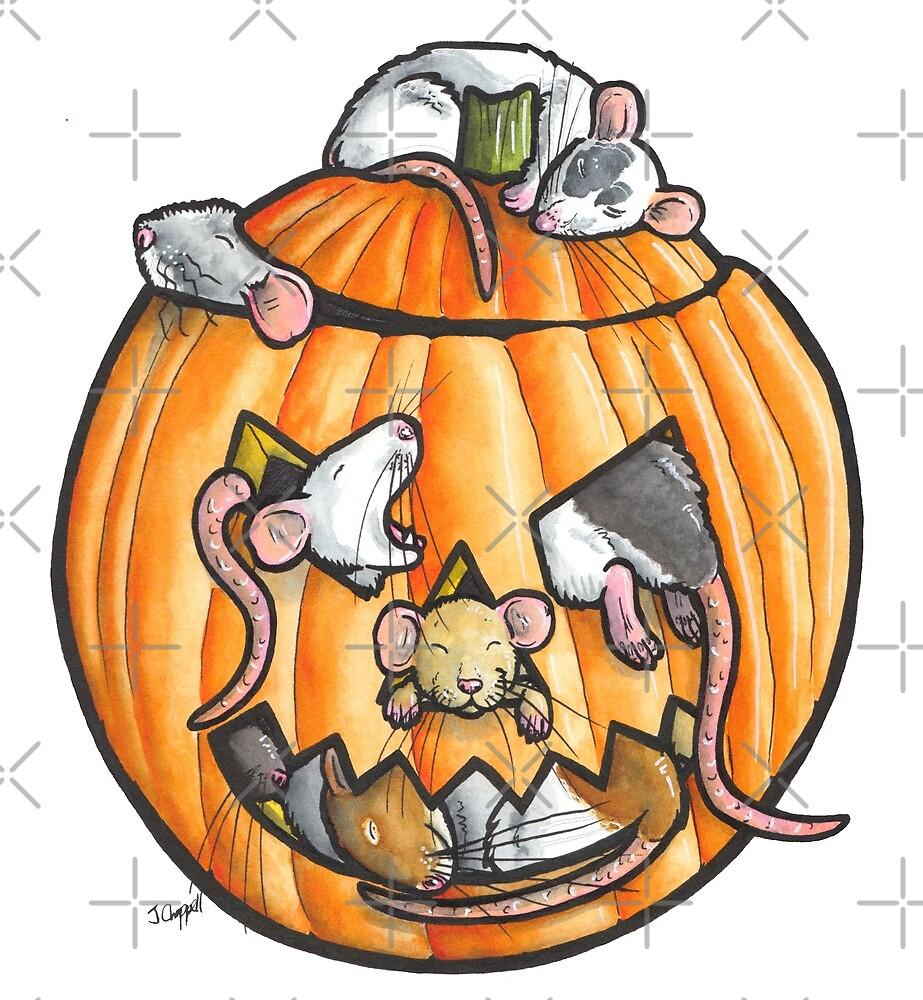 Halloween pumpkin rats by animalartbyjess
