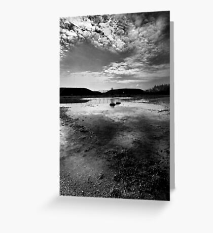 Greenham Common Missile Silos - Black and White Greeting Card