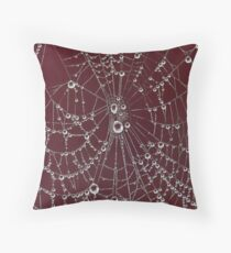 Blood Red Spider Web Throw Pillow