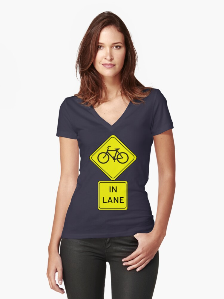 Bicycle In Lane Women's Fitted V-Neck T-Shirt Front