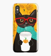 Pumpkin Coffee Cat iPhone Case