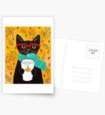 Pumpkin Coffee Cat Postcards