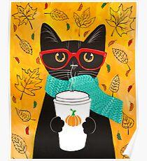 Pumpkin Coffee Cat Poster