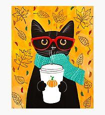 Pumpkin Coffee Cat Photographic Print