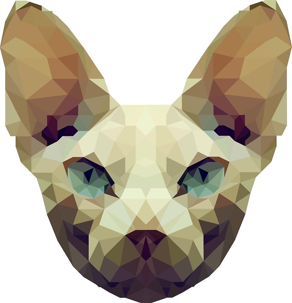 Sphynx cat low poly by krisztinaart