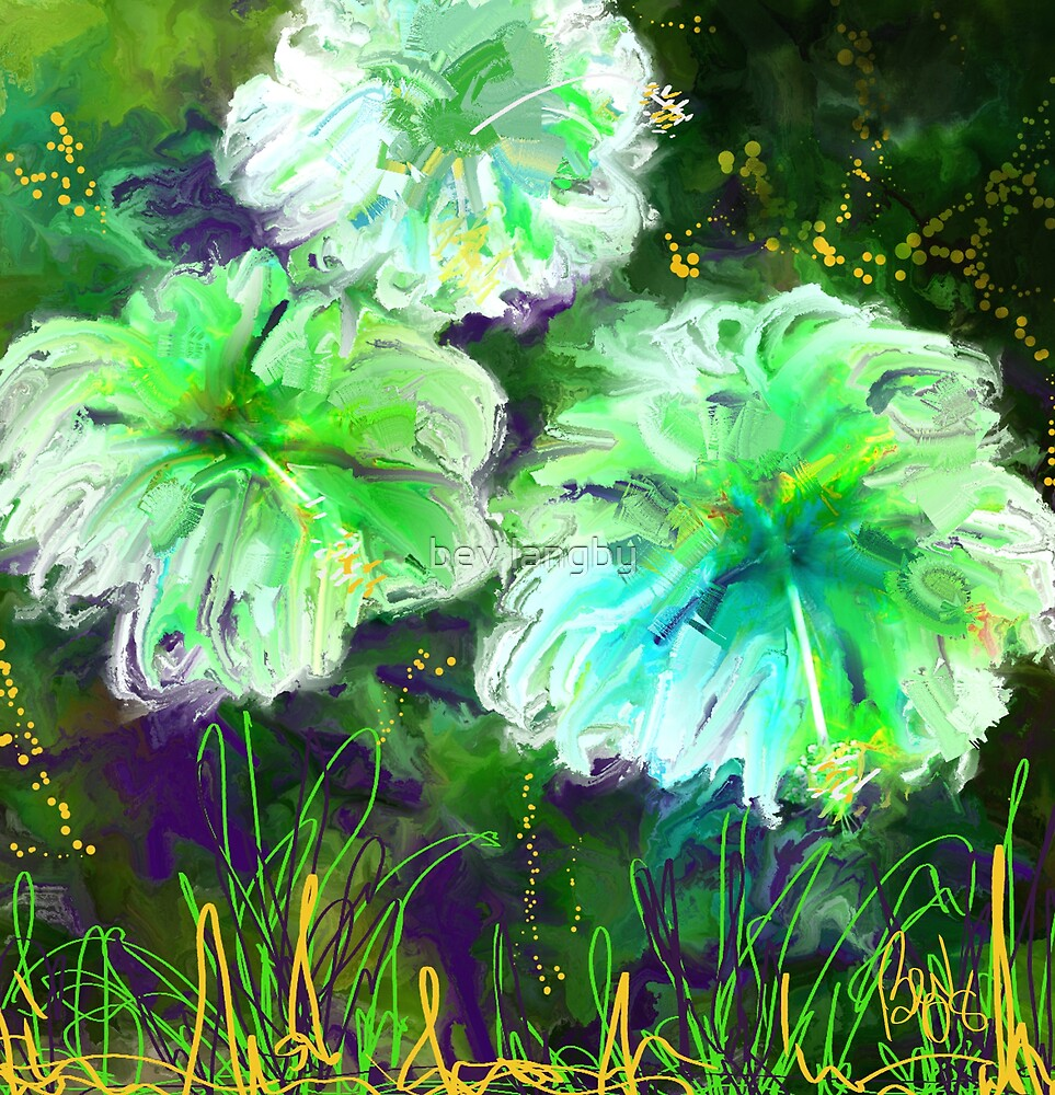 Green Hibiscus/homage to O'Keefe by bev langby