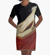 Renaissance old master cropped image, hand on book Graphic T-Shirt Dress