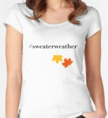 Sweater Weather Leaf Fall Women's Fitted Scoop T-Shirt