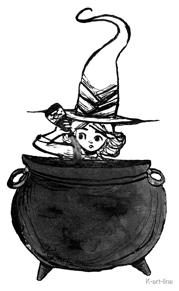 Little potion making witch by K-art-lina