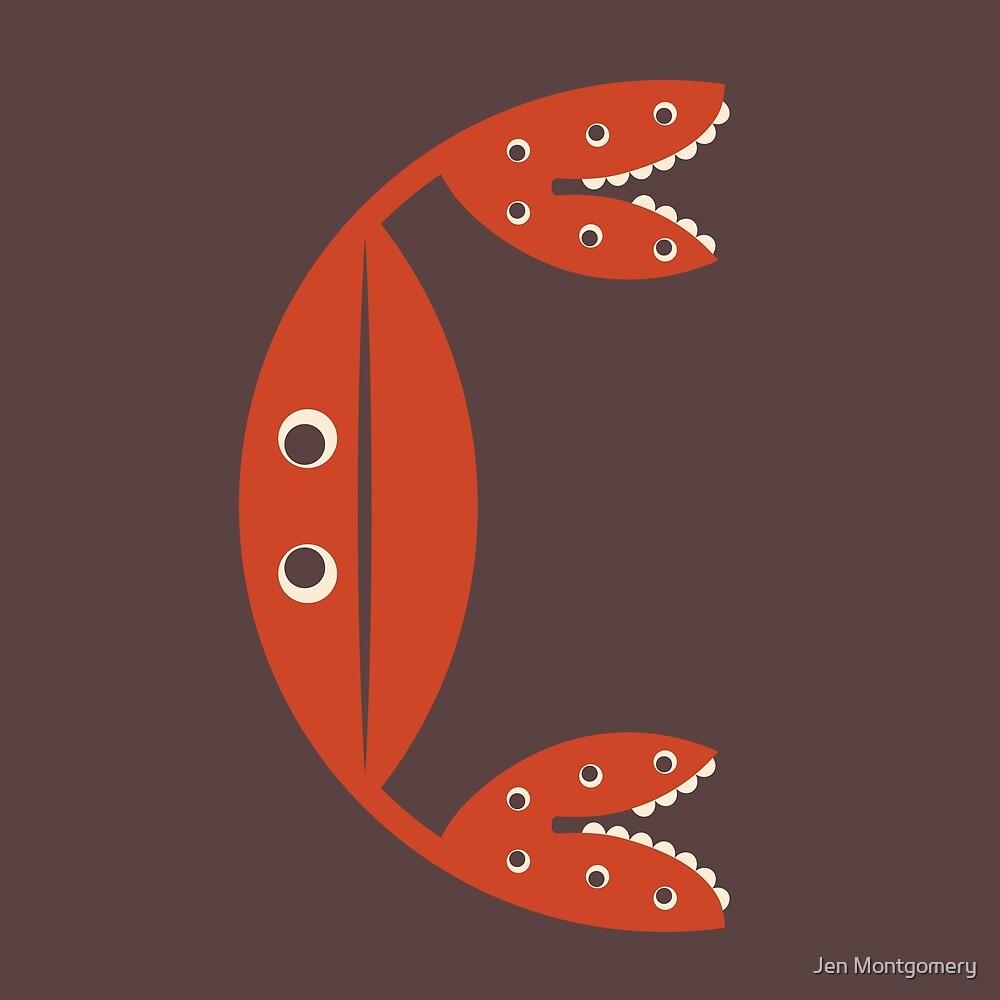 Letter C // Animal Alphabet // Crab Monogram by Jen Montgomery