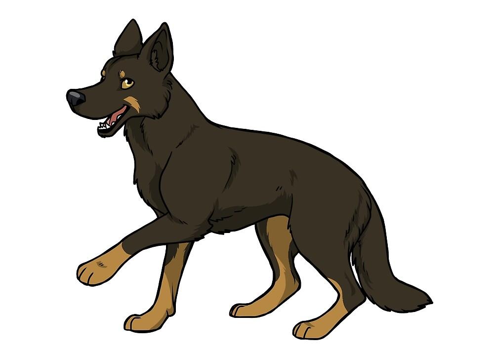German shepherd (Black & tan) by KiwiJP