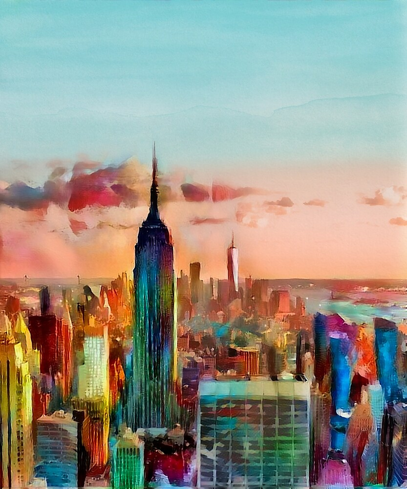 New York City Colorful Watercolor by erisian