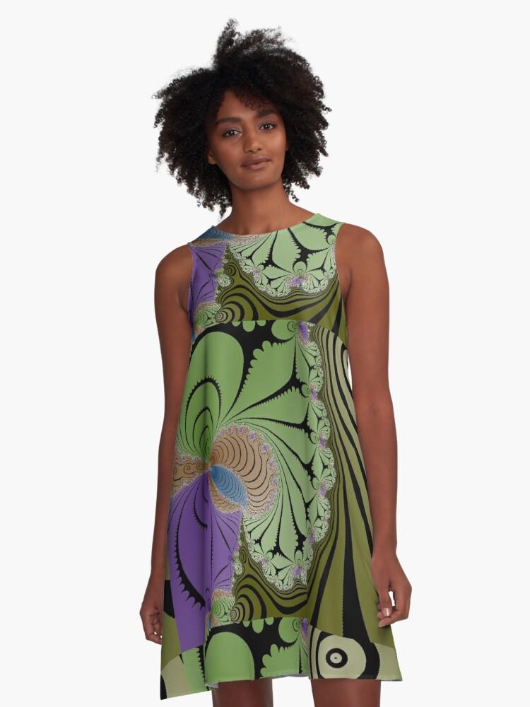 Wonderland Color Fantasy Swirl A-Line Dress Front