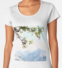 Apple Blossoms and Mountains  Women's Premium T-Shirt