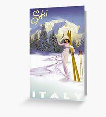 Vintage Italian Ski sport poster, ski italy Greeting Card