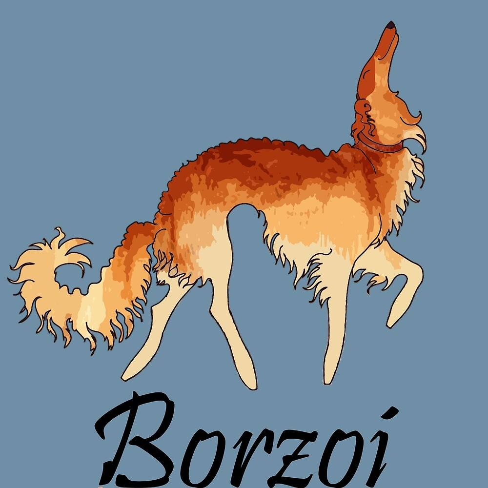 Red Borzoi by Happy Dog Swag