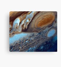 Closeup of the great red spot on Jupiter, space exploration Canvas Print
