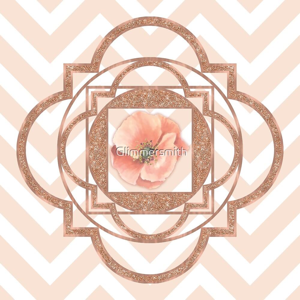 Persian Poppy, Rose Gold Quatrefoil, chevron by Glimmersmith